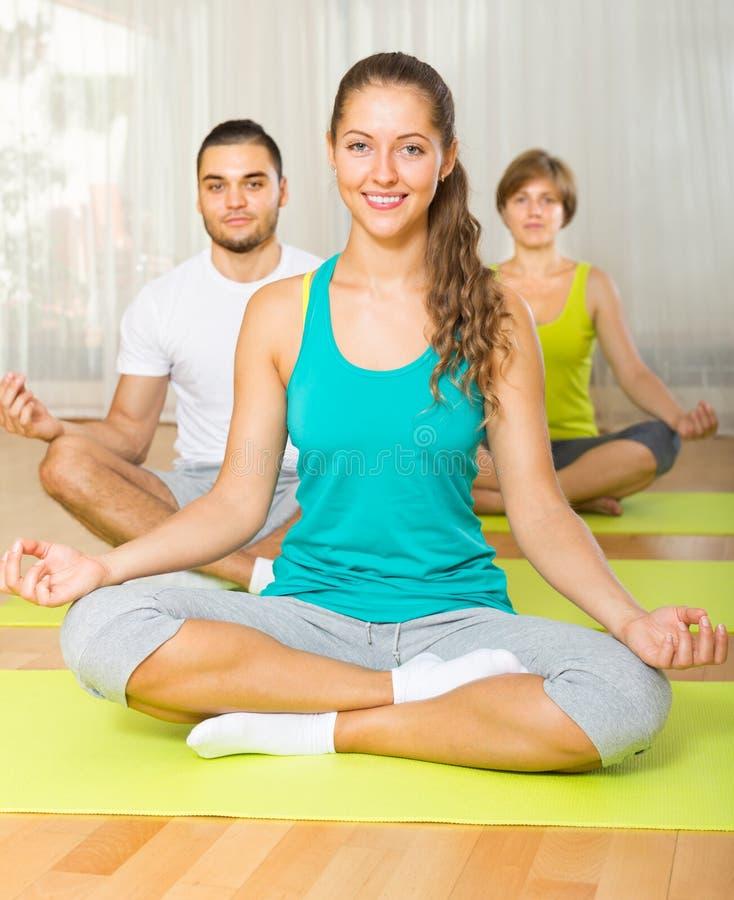 Grupo que tem a classe da ioga imagem de stock