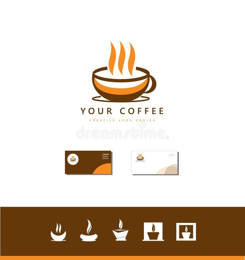 Grupo quente do projeto do ícone do logotipo do copo de café ilustração royalty free