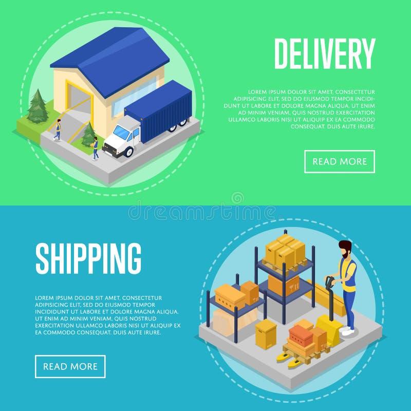 Grupo rápido do transporte da entrega e do frete ilustração royalty free