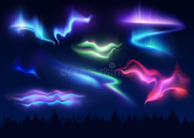 Grupo realístico da aurora boreal ilustração royalty free