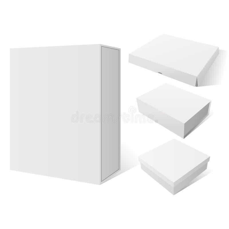 Grupo realístico da caixa branca do modelo do pacote de quatro vetores ilustração do vetor