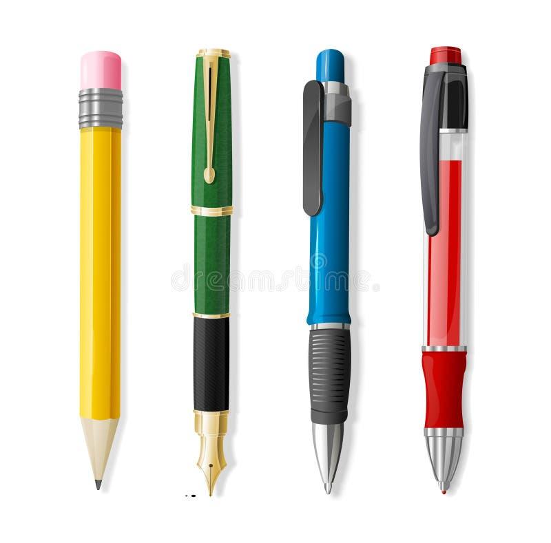 Grupo realístico da pena 3d e do lápis Vetor ilustração stock