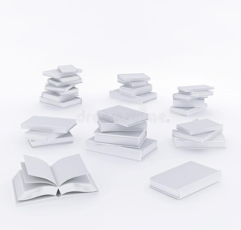 Grupo realístico de 3d aberto e de livros fechados com tampa branca vazia ilustração isolada ilustração royalty free