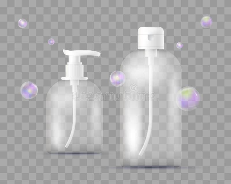 Grupo realístico de garrafas diferentes para farmacêutico, composição em quadriculado transparente Com o distribuidor para o sabã ilustração do vetor