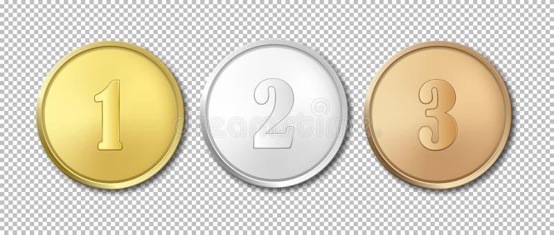 Grupo realístico do ícone das medalhas da concessão do ouro, da prata e do bronze do vetor isolado no fundo transparente Moldes d ilustração stock