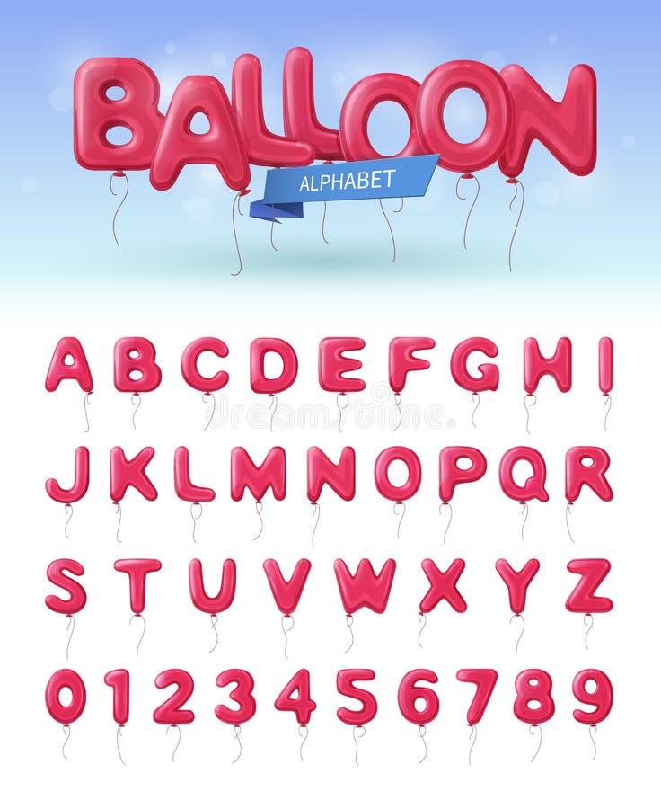 Grupo realístico do ícone do alfabeto do balão ilustração do vetor