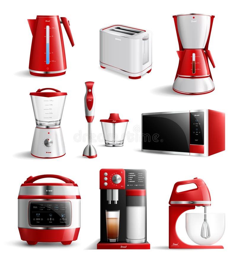 Grupo realístico do ícone dos dispositivos de cozinha do agregado familiar ilustração royalty free
