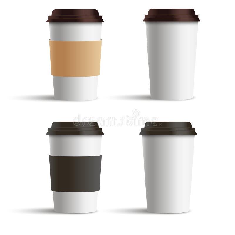 Grupo realístico do copo de café do papel vazio isolado no fundo branco Ilustração do vetor ilustração stock