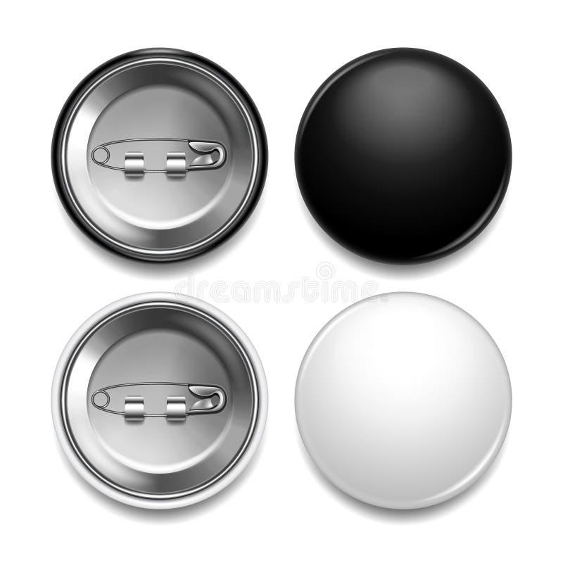 Grupo realístico do vetor da foto redonda preto e branco do crachá ilustração do vetor