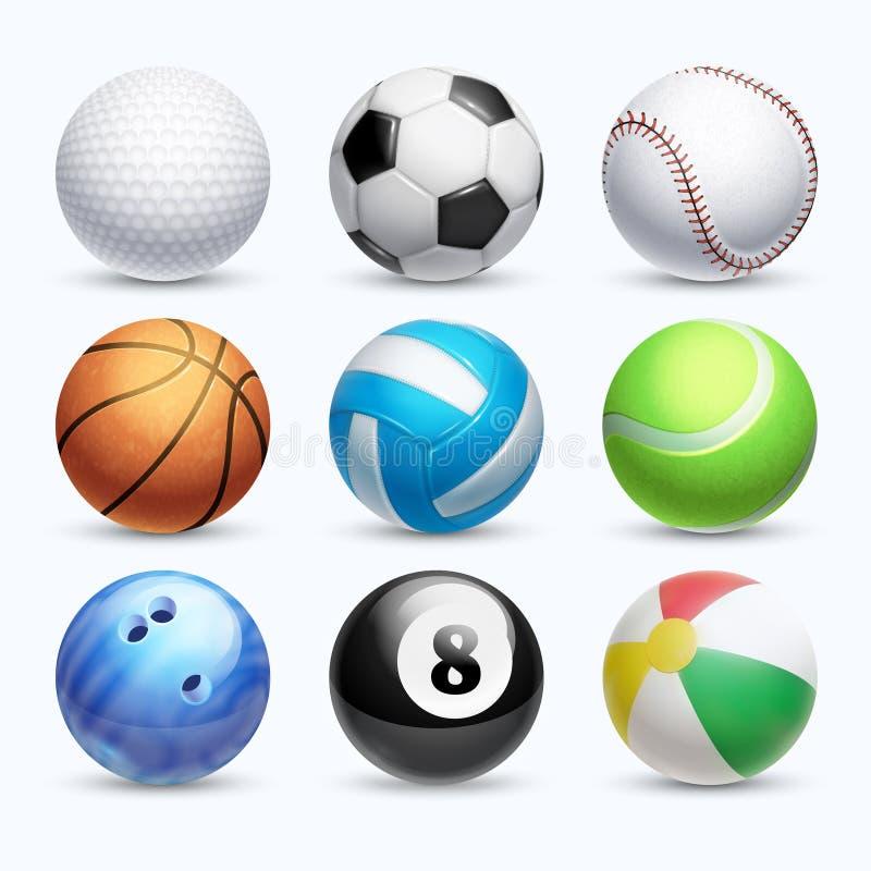 Grupo realístico do vetor das bolas dos esportes ilustração do vetor