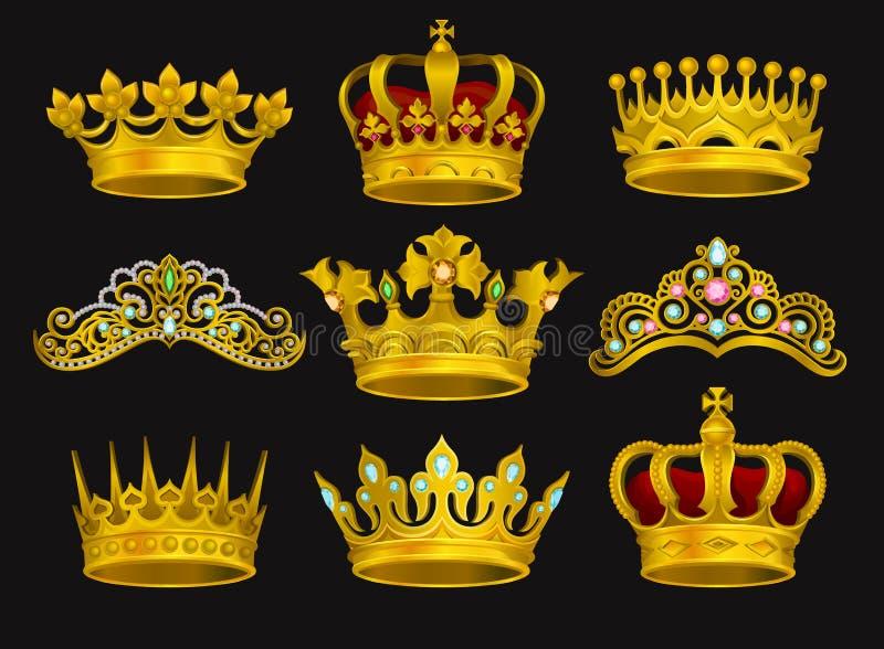 Grupo realístico do vetor de coroas douradas e de tiaras decoradas com pedras preciosas Mantilha brilhante da pessoa real ilustração stock