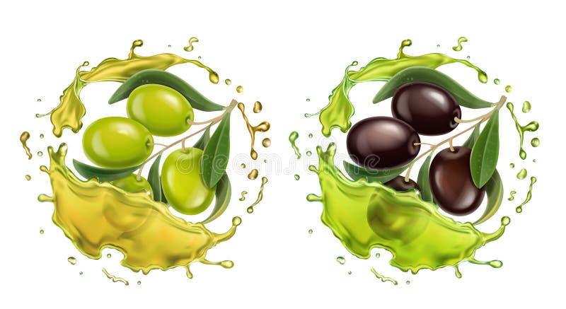 Grupo realístico do vetor do respingo 3d do azeite com as azeitonas pretas e ramo verde para a etiqueta virgem extra ilustração do vetor