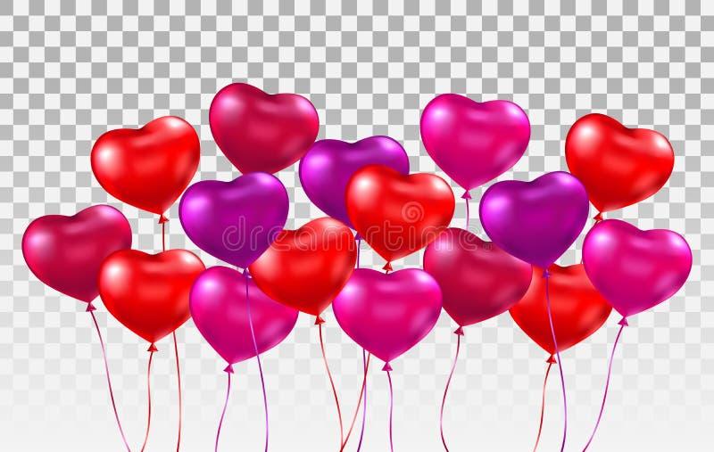 grupo realístico dos ballons do coração 3d Grupo de vermelho lustroso, rosa, balões do coração roxo no fundo transparente feriado ilustração do vetor
