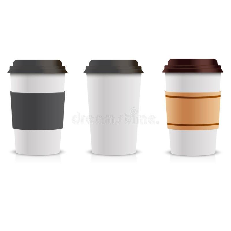 Grupo realístico dos copos de café de papel Zombaria do copo de café da coleção 3d acima Molde do vetor ilustração stock
