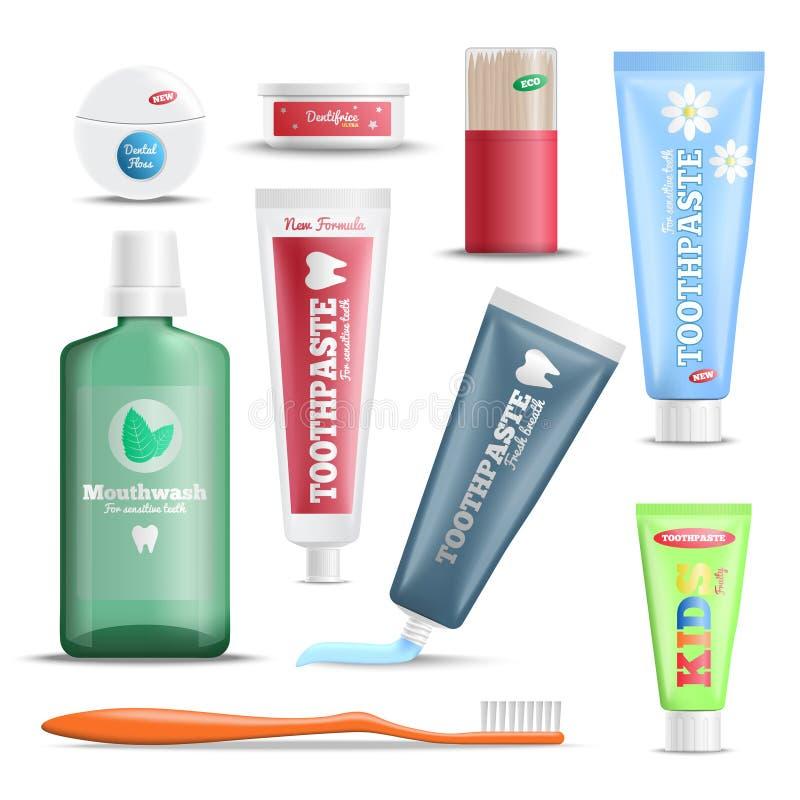 Grupo realístico dos produtos dos cuidados dentários ilustração royalty free