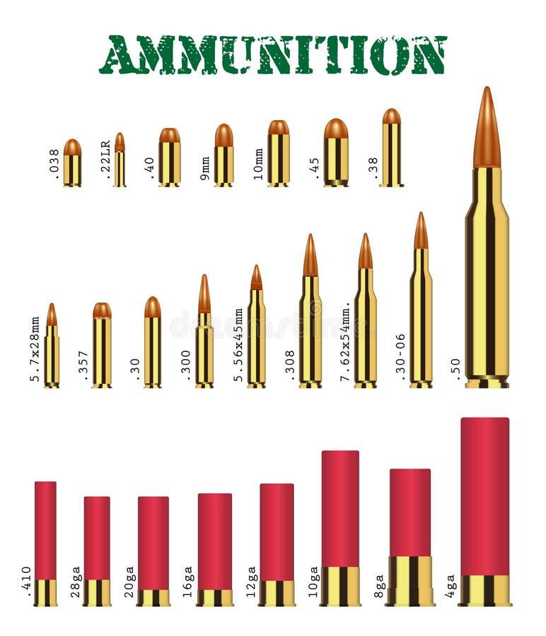 Grupo real de muitos tipos de vetor da munição da arma ilustração stock