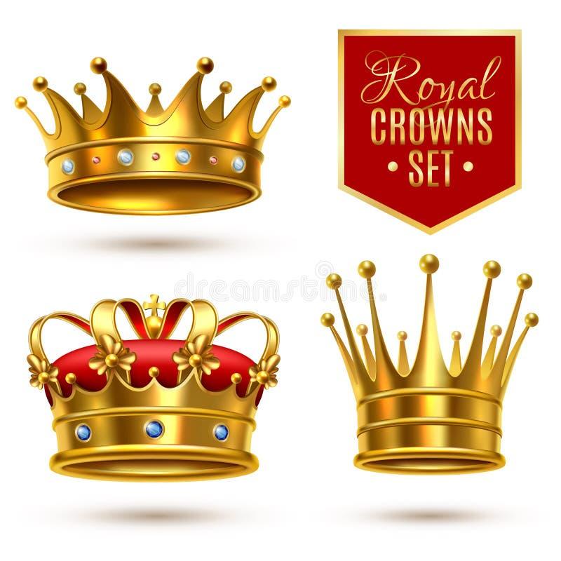 Grupo real realístico do ícone da coroa ilustração stock