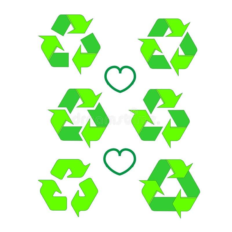 Grupo reciclado do ícone do eco recicle o símbolo da ecologia das setas Seta reciclada do ciclo Ilustração do vetor isolada em Ba ilustração stock