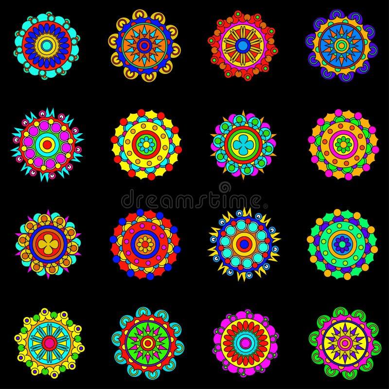 Grupo redondo colorido da mandala O mosaico circunda a coleção Vetor ilustração stock