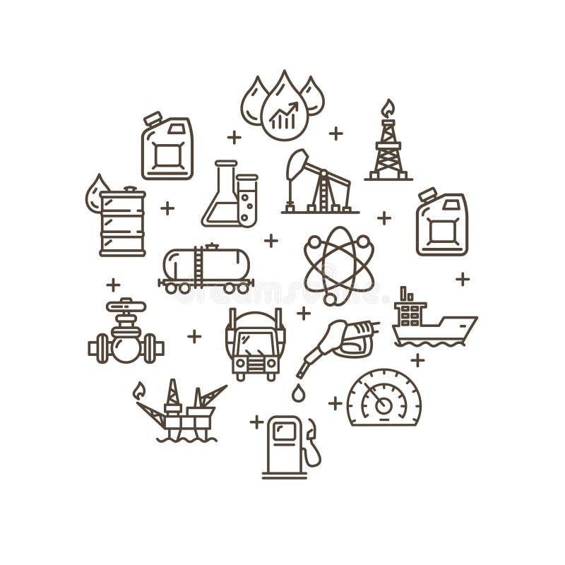 Grupo redondo do ícone do esboço do molde do projeto da indústria petroleira Vetor ilustração royalty free