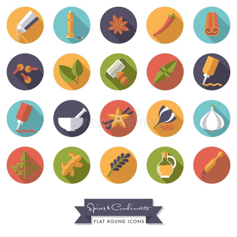 Grupo redondo do ícone do projeto liso das especiarias e dos condimentos ilustração do vetor