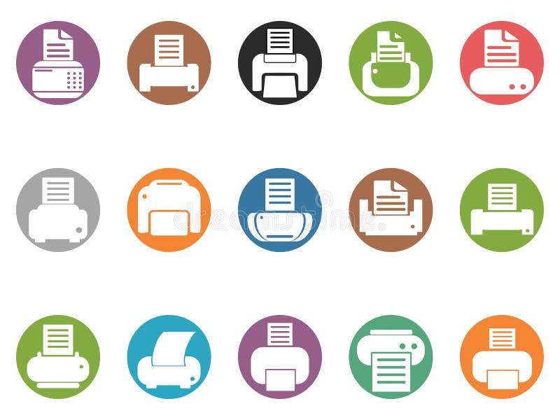 Grupo redondo dos ícones do botão da impressora ilustração royalty free