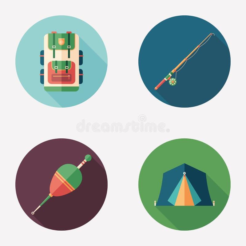 Grupo redondo liso de pesca e de acampamento do ícone ilustração royalty free