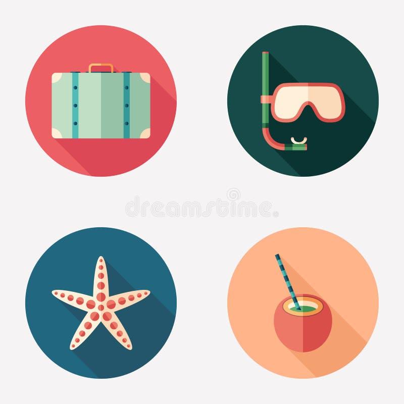 Grupo redondo liso do ícone das horas de verão ilustração stock