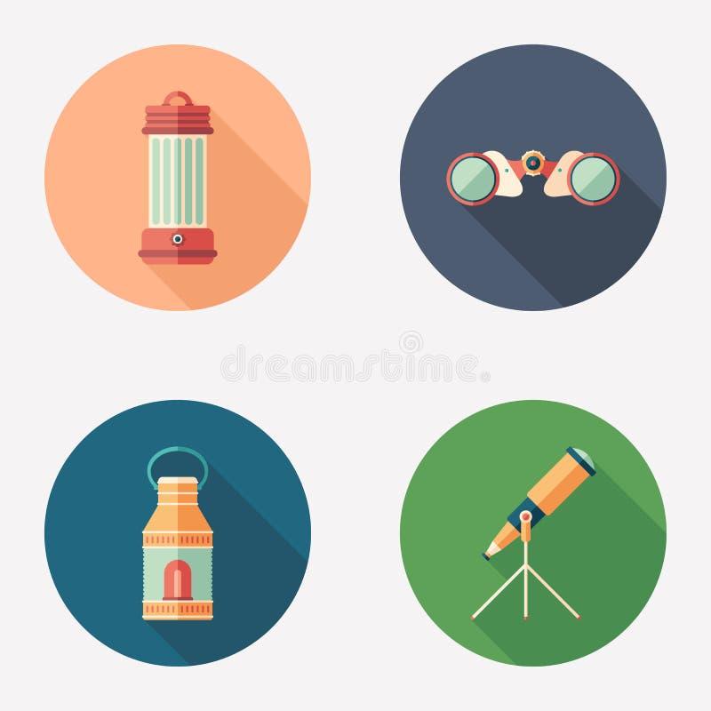 Grupo redondo liso do ícone das lâmpadas e dos dispositivos da observação ilustração do vetor