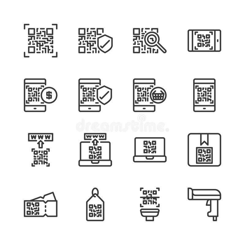 Grupo relacionado do ícone do código de Qr Ilustra??o do vetor ilustração stock