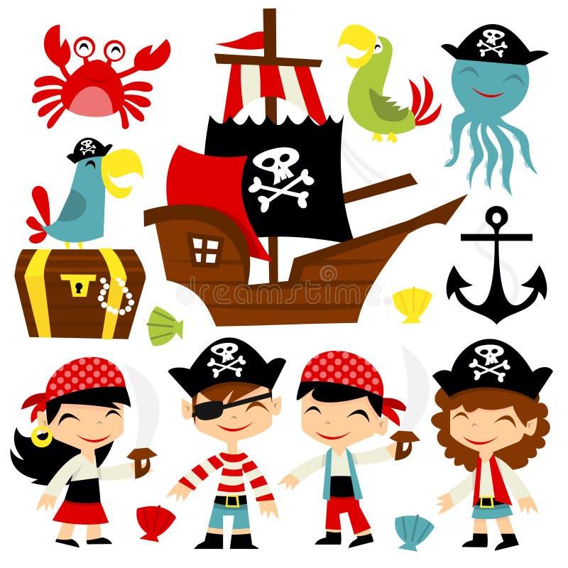 Grupo retro da aventura do pirata ilustração stock