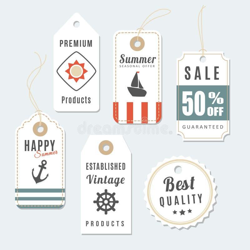 Grupo retro de etiquetas da venda e da qualidade do vintage do verão ilustração stock