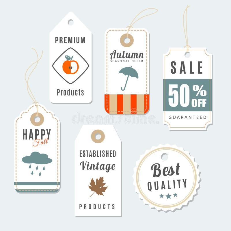 Grupo retro de outono, de venda do vintage da queda e de etiquetas da qualidade, etiquetas ilustração do vetor