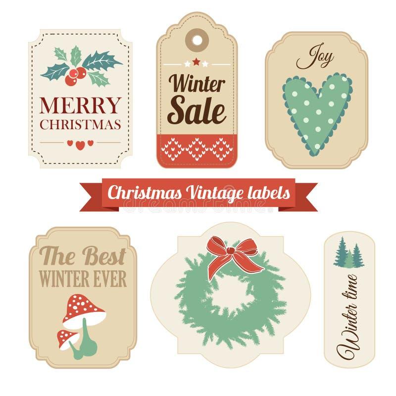 Grupo retro de presente do vintage do Natal, etiquetas da venda, etiquetas ilustração royalty free