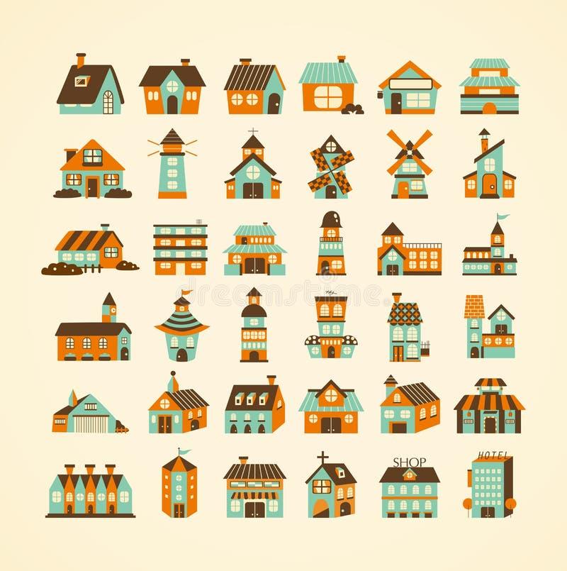 Grupo retro do ícone da casa ilustração royalty free