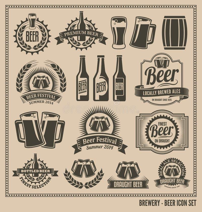 Grupo retro do ícone da cerveja do vintage ilustração royalty free