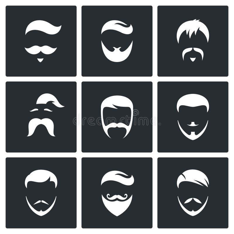 Grupo retro do ícone dos penteados dos homens ilustração stock
