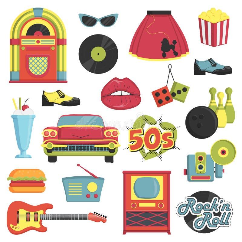 Grupo retro do artigo do estilo dos anos 50 do vintage ilustração royalty free