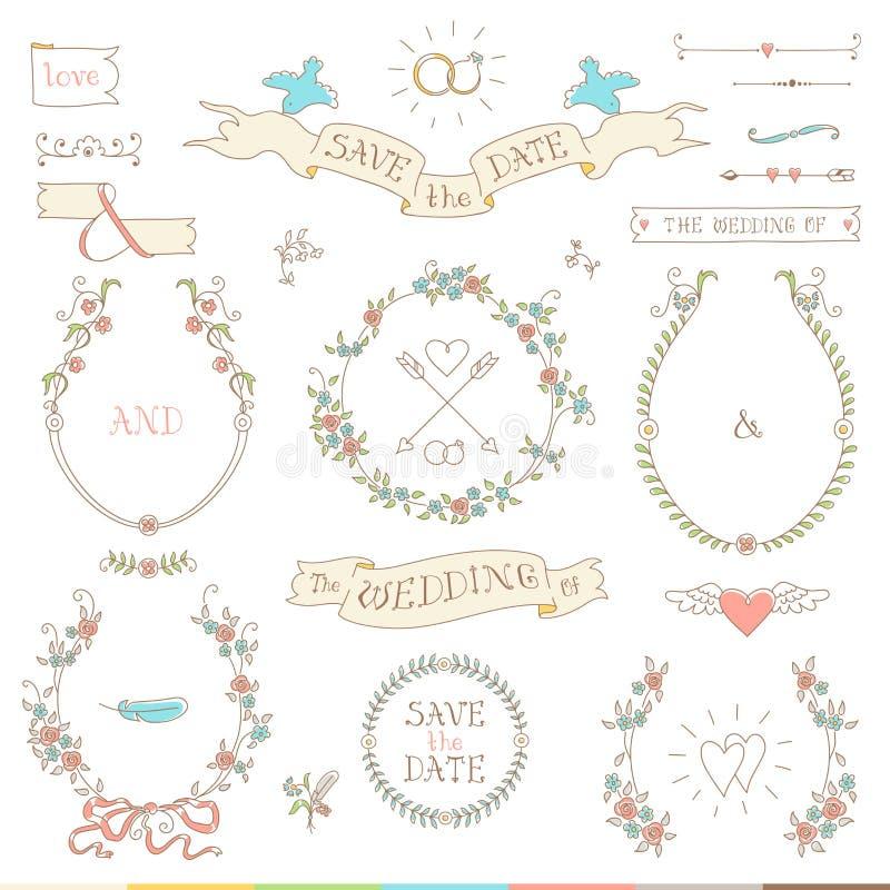 Grupo retro do casamento Corações, pássaros e fitas ilustração stock