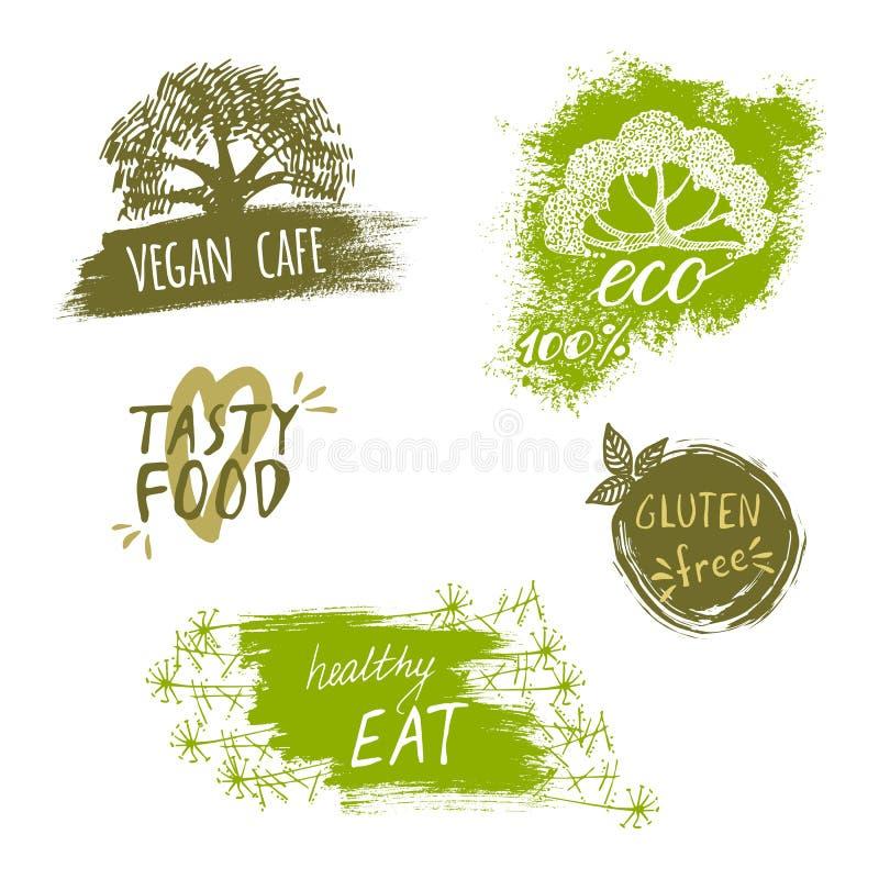 Grupo retro do estilo de bio, orgânico, sem glúten, eco, etiquetas saudáveis do alimento Moldes do logotipo com elementos florais ilustração do vetor