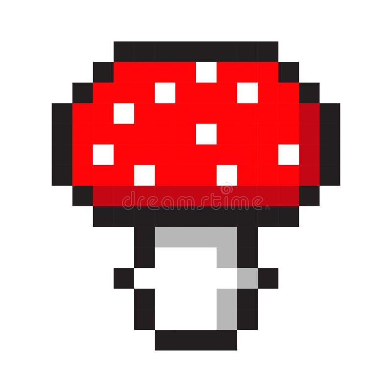 Grupo retro do estilo do jogo dos desenhos animados do cogumelo do amanita da arte do pixel ilustração do vetor