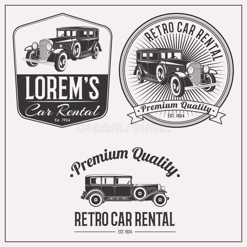 Grupo retro do logotipo do aluguer de carros ilustração do vetor
