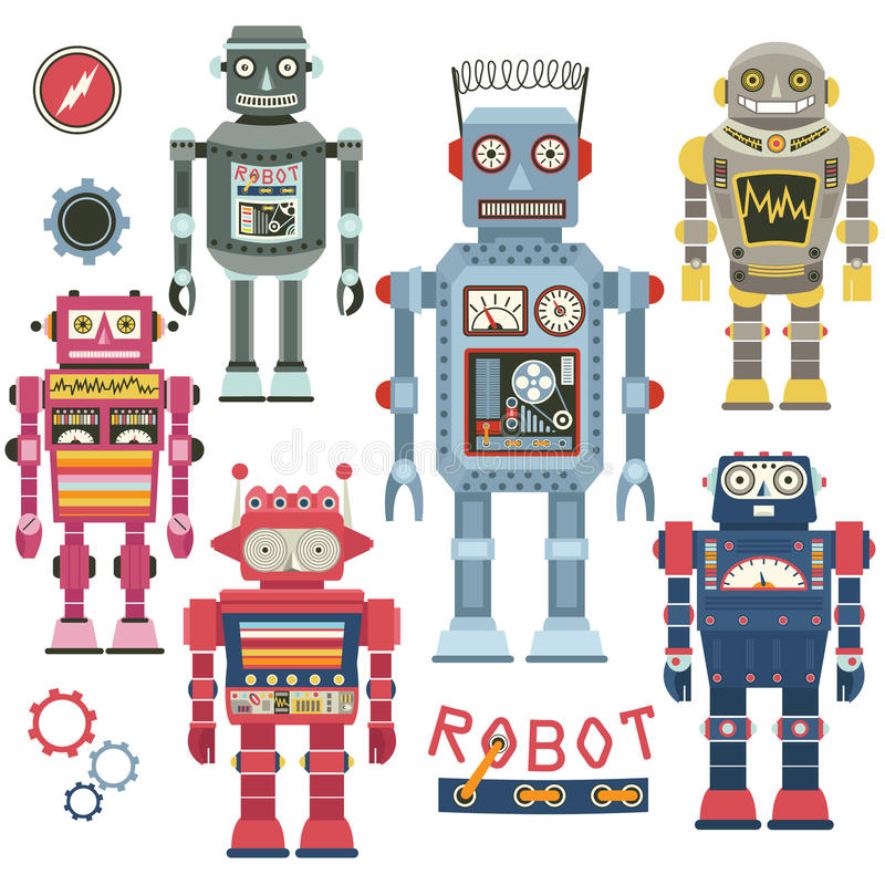 Grupo retro do robô ilustração royalty free