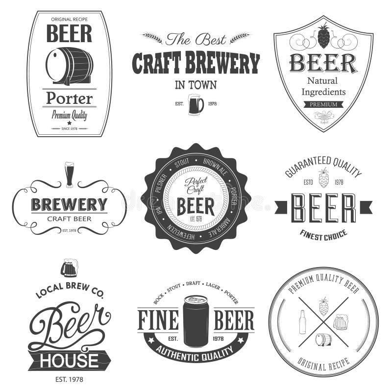 Grupo retro etiqueta denominada da cerveja ilustração royalty free