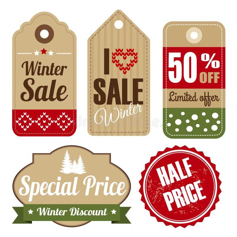 Grupo retro, etiquetas do vintage do Natal do inverno da venda ilustração stock