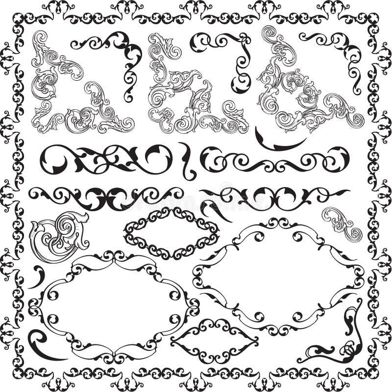 Grupo retro fino do victorian da decoração ilustração do vetor