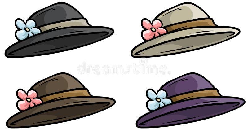 Grupo retro velho do ícone do vetor do chapéu da mulher dos desenhos animados ilustração do vetor