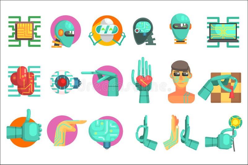 Grupo robótico da tecnologia de ícones gráficos simplificados coloridos lisos do estilo isolados no fundo branco ilustração stock