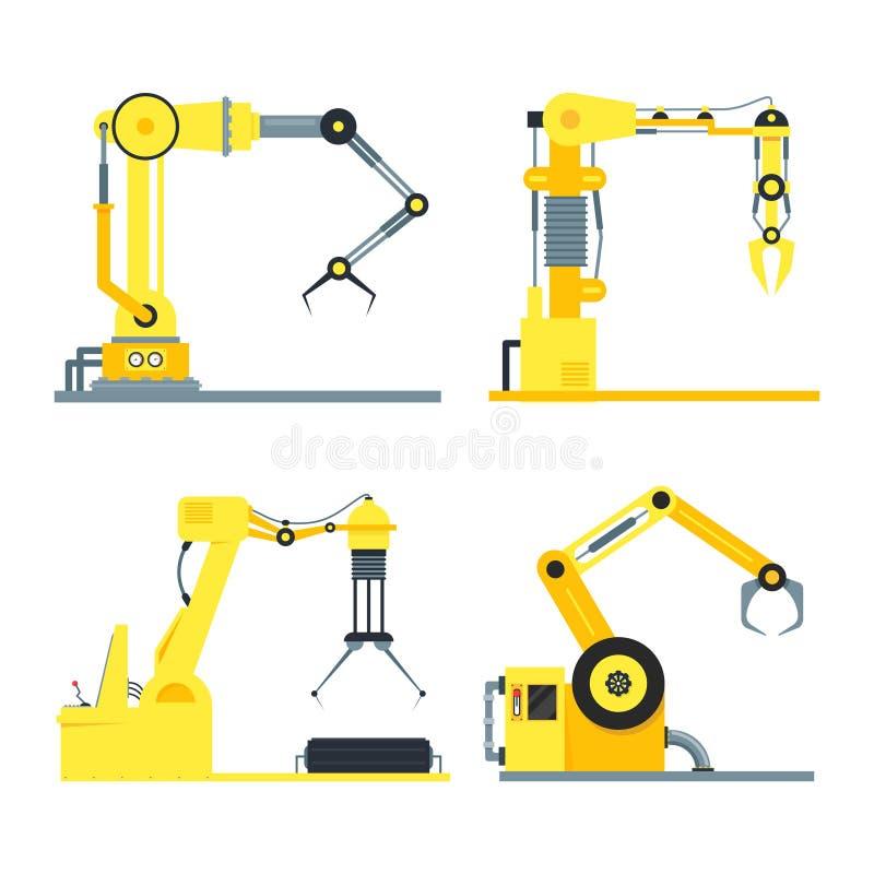 Grupo robótico do braço da tecnologia industrial dos desenhos animados Vetor ilustração stock