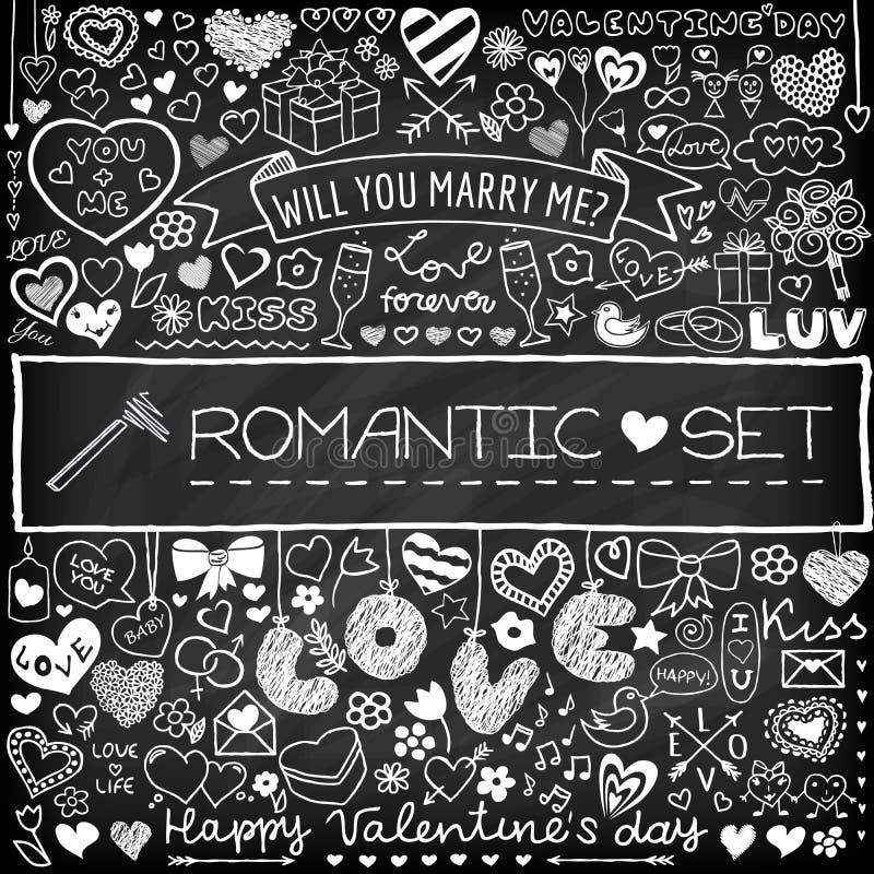 Grupo romântico da garatuja da placa de giz ilustração stock